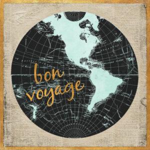 globe terrestre avec les mots bon voyage