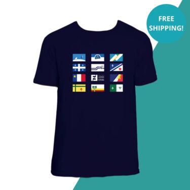 blue t-shirt flags