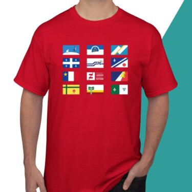 modele t-shirt rouge drapeaux