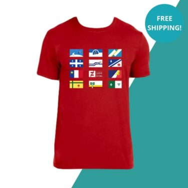 red t-shirt flags