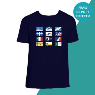 t-shirt bleu drapeaux