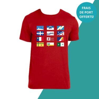 t-shirt rouge drapeaux francophones