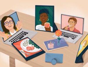 Écrans sur lesquels on peut voir des visages amicaux  Faire ses devoirs en équipe